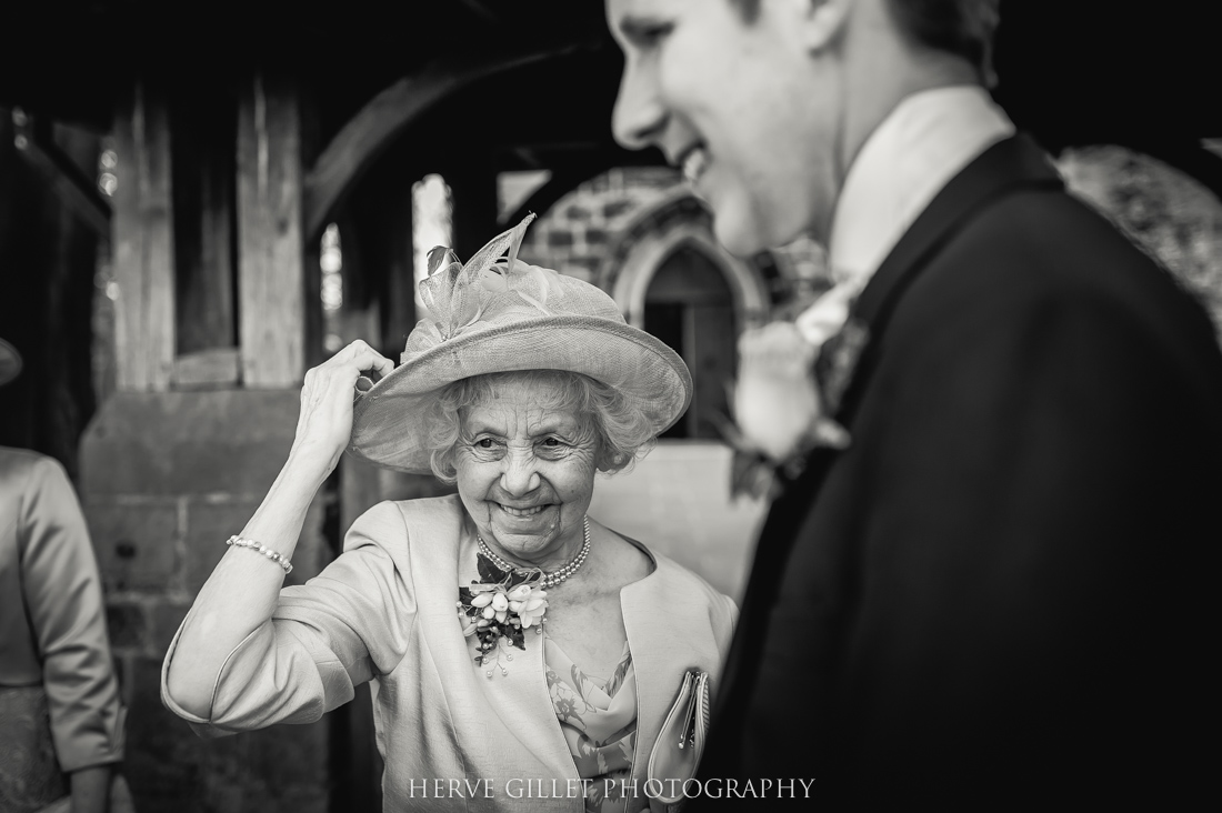 groom with his nan black and white