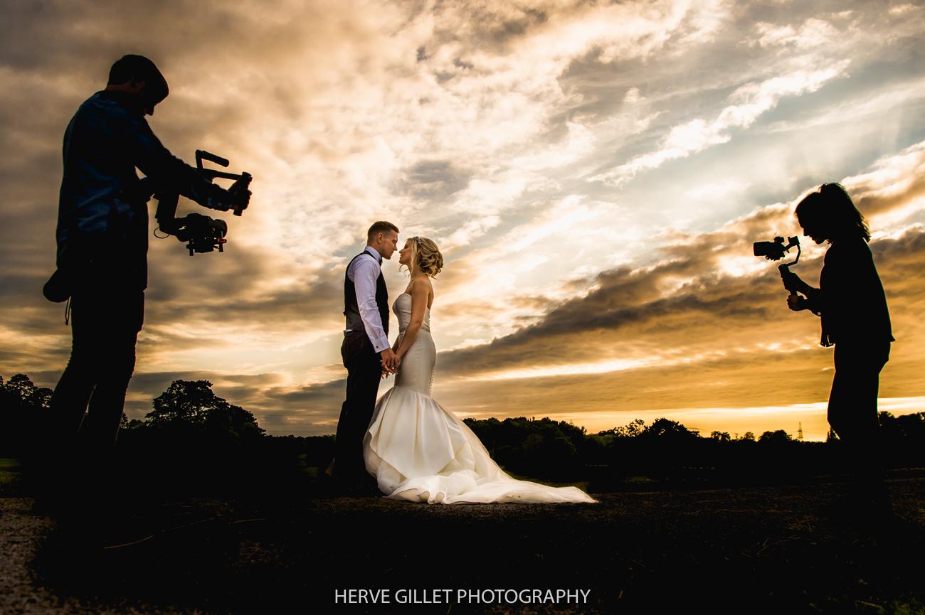 Bride and groom sun set Thornton Manor wedding photography