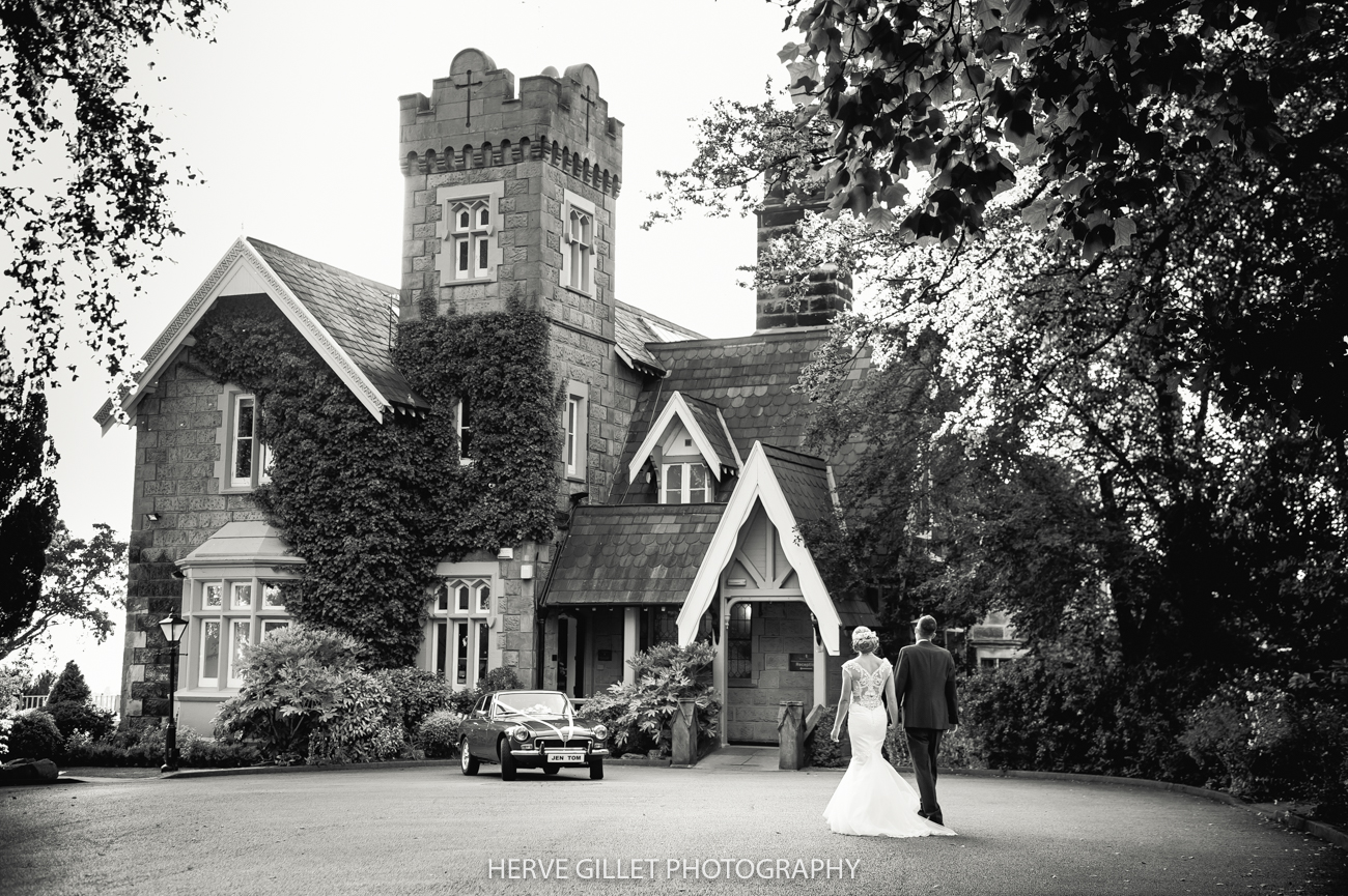 outside the West Tower wedding photograph